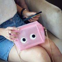 kristal gözleri çanta sevimli küçük Şeffaf Çanta Turuncu Çanta Şeker Poşetleri Plastik Kadınlar Sarı renkli Furly Ünlü Marka pembe