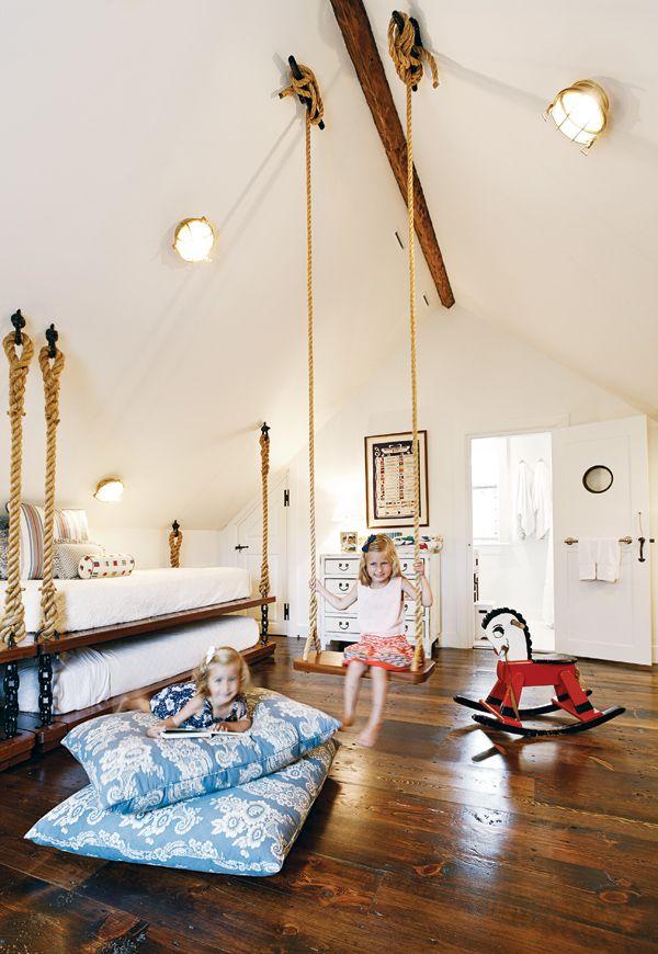 cleat attachment for indoor swing . Georgantas' Nantucket cottage
