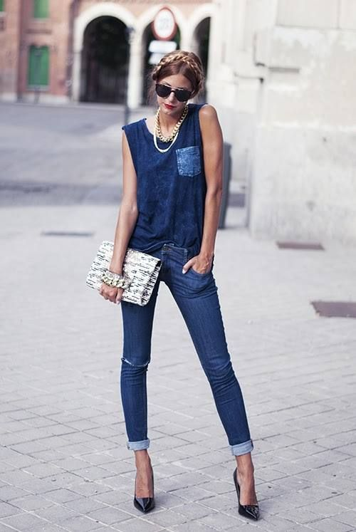 Denim on Denim - going dark wash. #fashion #trends