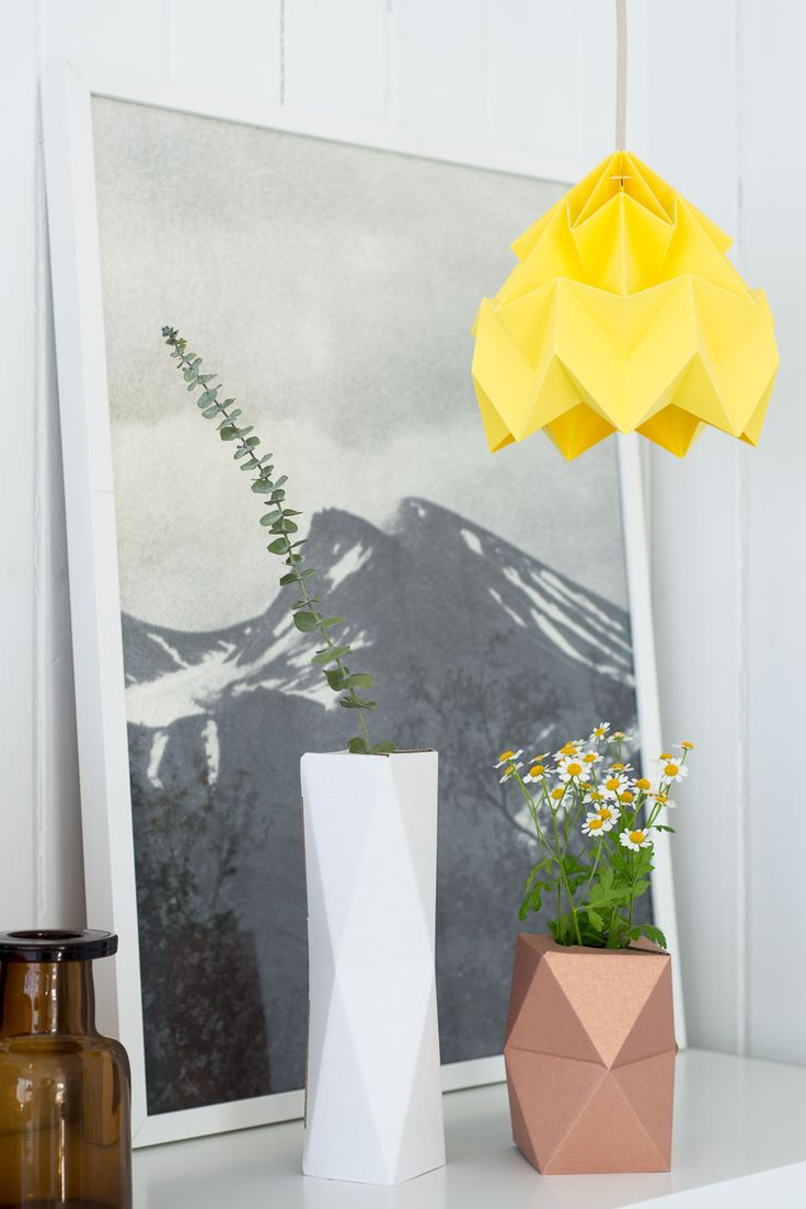 Via Fjeldborg | Fine Little Day Up Poster | Yellow Folded Lamp and Geometric Vase | Mountain Print