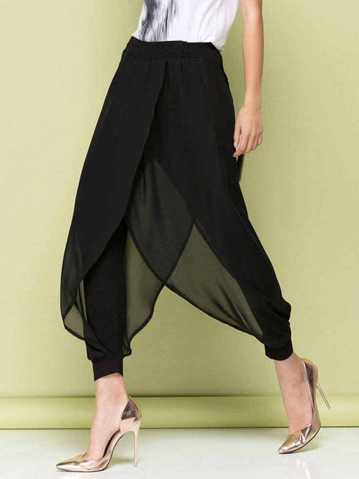 O-Newe Loose Chiffon Fake Two-Piece Harem Pants For Women