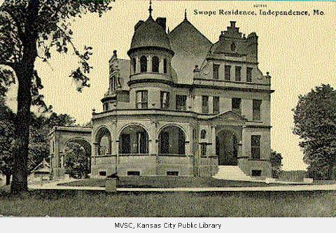 """Independence, MO, Swope Residence - The Swope residence, of red brick and red sandstone, at 406 South Pleasant Street in Independence, was built in the early 1890s. Colonol Thomas Swope, donor of the land constituting the city park that bears his name, also gave to the city the property that later became known as """"Hospital Hill,"""" cite of today's Children's Mercy Hospital and Truman Medical Center."""