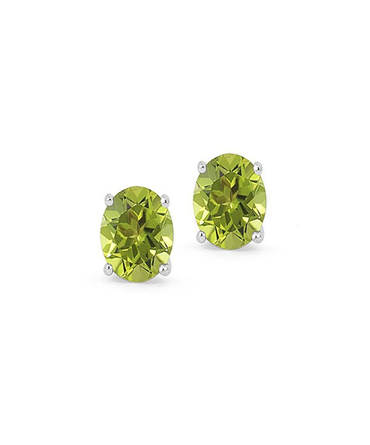 Take a look at this Peridot & Sterling Silver Oval-Cut Stud Earrings today!