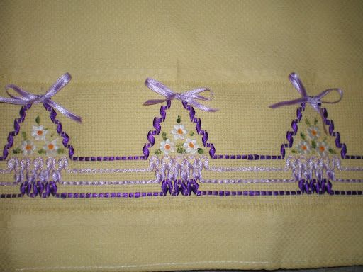 Huck weaving with ribbon. (link doesn't work)