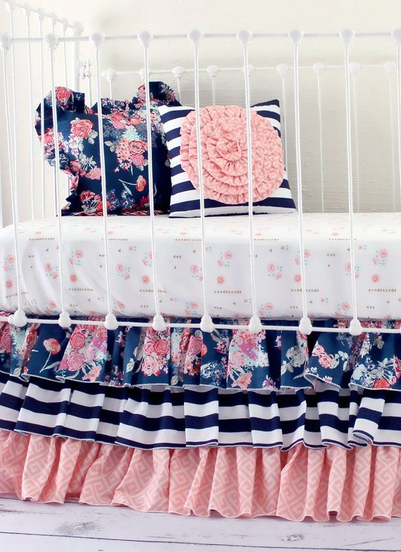 Navy and Peach Baby Girl Bedding Set  ___________________________  Crib Set Options:  2 pillows Fitted Sheet 3 tier ruffle skirt (add lace trim option +$25 in separate listing)  Accessories available to match the set. 1 Navy floral ruffle trim pillow, including 14 x 14 pillow insert 1 Navy and white stripe pillow with peach geometric rosette, including 14 x 14 pillow insert 1 Peach geometric fitted crib sheet (elastic all around for a clean, secure fit) 1 Navy floral flounce crib-skirt / 16…