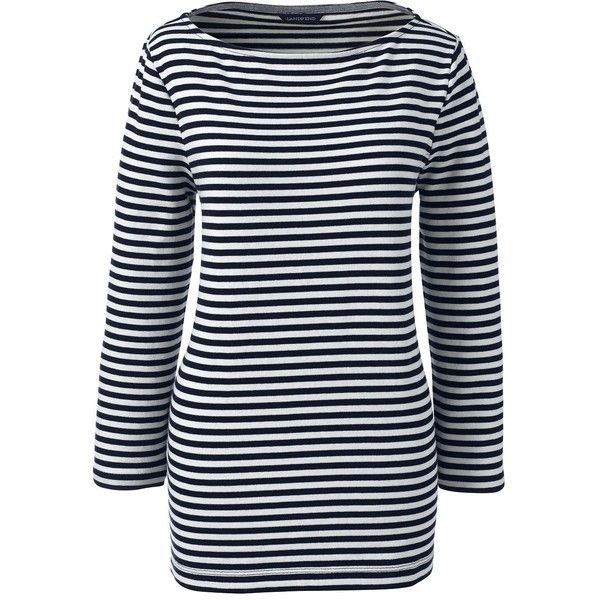 Lands' End Women's Petite Sailor Tee ($39) ❤ liked on Polyvore featuring tops, t-shirts, blue, breton top, boat neck t shirt, lands end t shirts, petite tee and curved hem tee