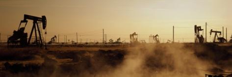 Oil Drills in a Field, Maricopa, Kern County, California, USA