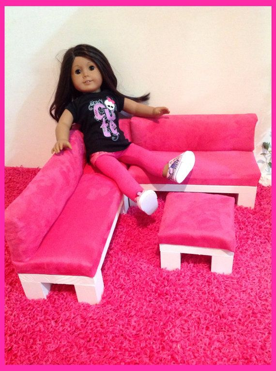 Hot Pink FAUX SUEDE Print Sectional/Sofa Furniture Set by crixina