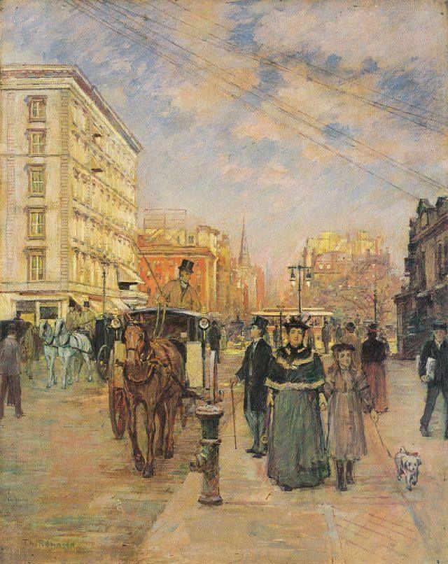 Città e paesi. Theodore Robinson: Quinta Strada a Madison Square. Olio su tela del 1894-95. Columbus Museum of Art. Una New York irriconoscibile, molto simile alla Parigi di quei tempi, in quest'immagine di vita quotidiana.