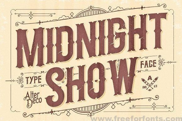 Midnight Show Typeface Font Free Download Vintage Fonts Typeface Midnight Show