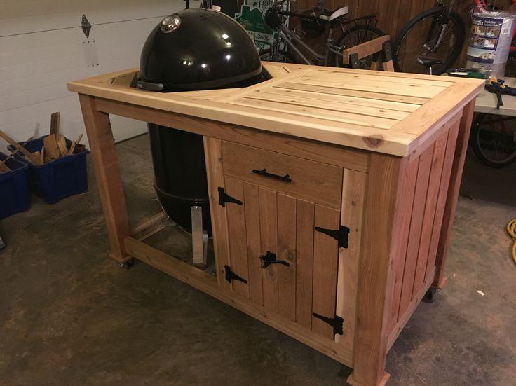 "Custom cedar cart for my 22"" Weber Smokey Mountain smoker!"