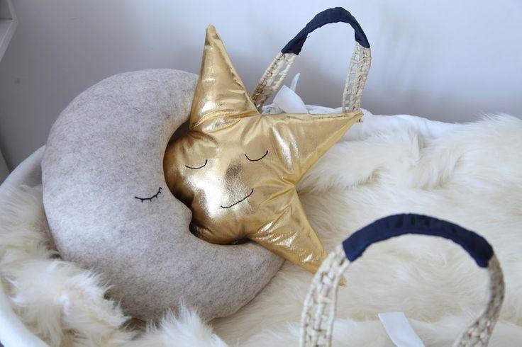 gold star and wool felt moon cushions www.junkaholique.com