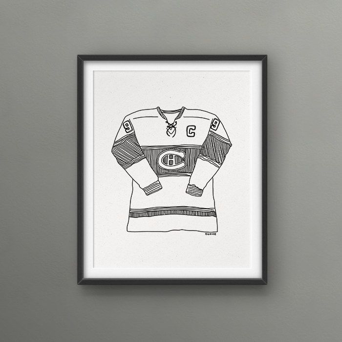 Canadiens de Montréal Hockey team / Maurice Richard's shirt / 8x10 Art Print // Love/Hate Montreal