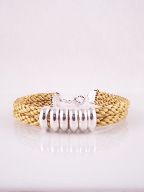 Emlyn (Double Stranded Gold Satin Cord Hand Braided Kumihimo Bracelet W/ Silver…