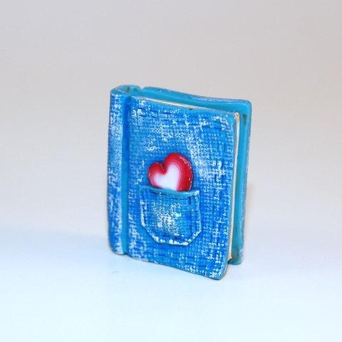 Blue Denim Polymer Clay Book Charm