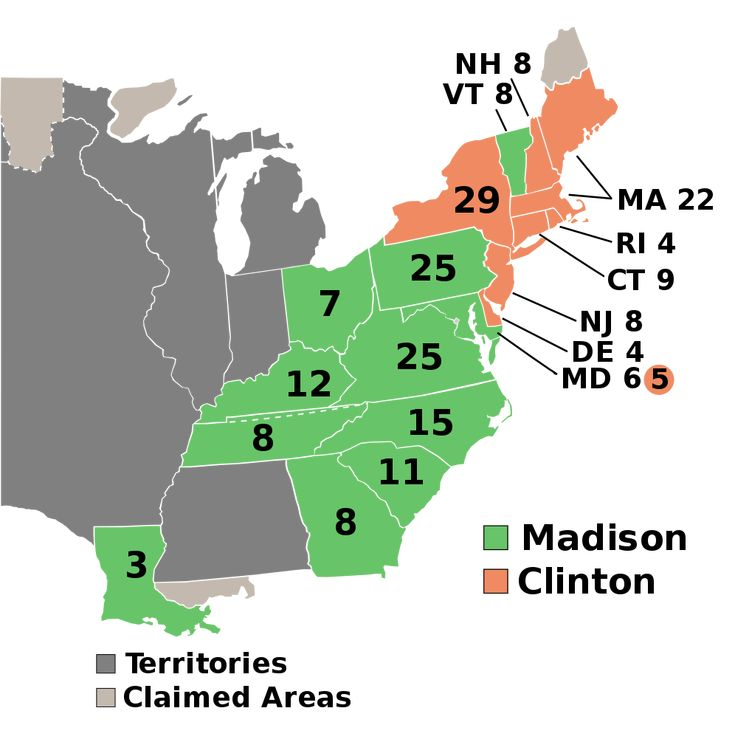 Electoral college map for the 1812 United States presidential election