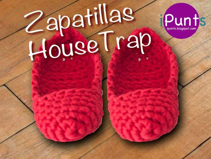 Zapatillas HouseTrap de Trapillo - Patrón Gratis en Español http://ipunts.blogspot.com.es/2014/03/zapatillas-housetrap-de-trapillo.html