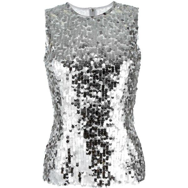 Dolce & Gabbana sequinned tank top ($770) ❤ liked on Polyvore featuring tops, grey, sequin top, sequin evening tops, summer tanks, embellished tank tops and sparkle tank
