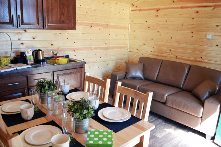 Columbia #Cabins have a pull out queen sofa, perfect for extra seating during the day  #Glamping #Camping #KOA #TWKOA #GTA #GTAgetaway #CampbellvilleON #MiltonOn