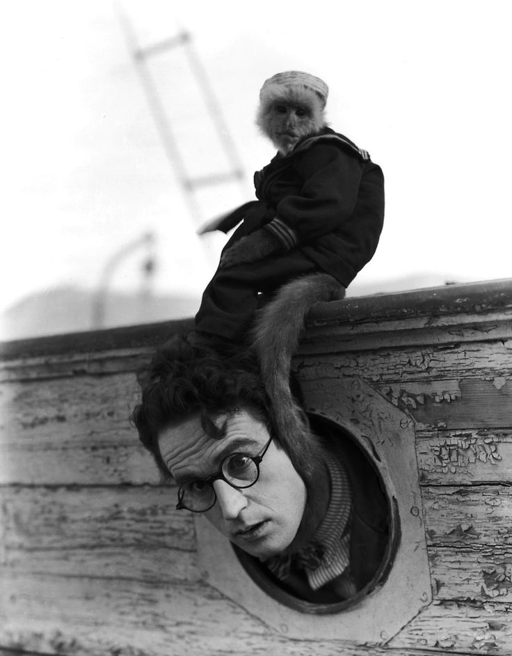 Harold Lloyd and Josephine the monkey.  'The Kid Brother'. 1927