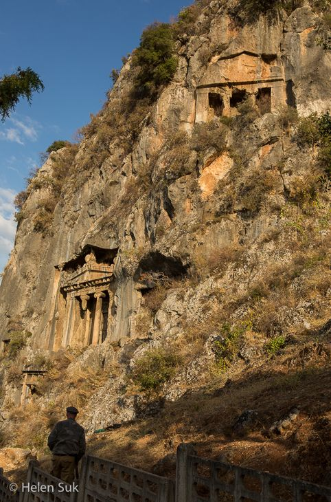 Ancient Lycian rock tombs in Fethiye, Turkey. Click for more things to do in this city on the Aegean Sea.