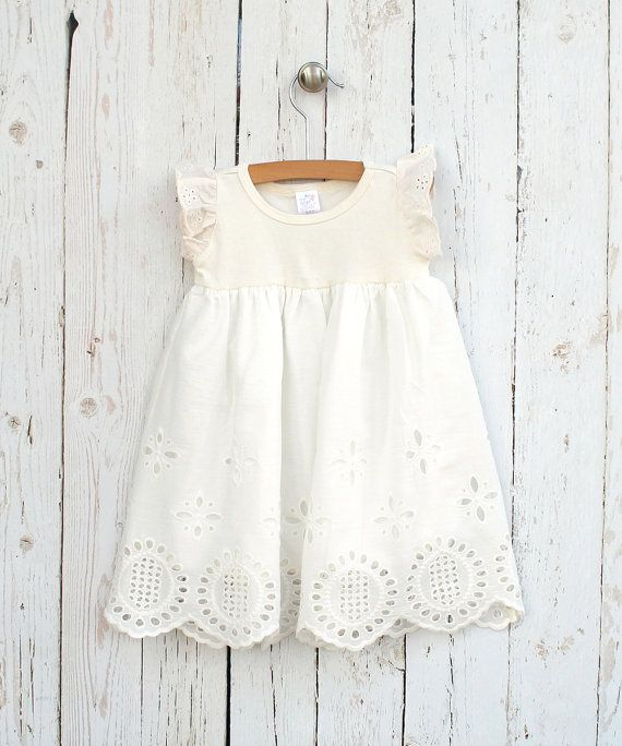 Baby Girl Eyelet Dress Baby Girl Ivory Easter Dress  by TesaBabe