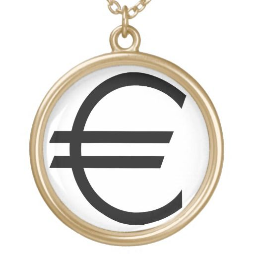 Euro Sign Personalized Necklace http://www.zazzle.com/euro_sign_necklace-177074610712165597?color=goldcolored&design.areas=%5bpjcircle_front%5d&view=113594129940756008&rf=238194283948490074&tc=pfz #eurosign #symbol #money #currency #personalizednecklace #zazzle