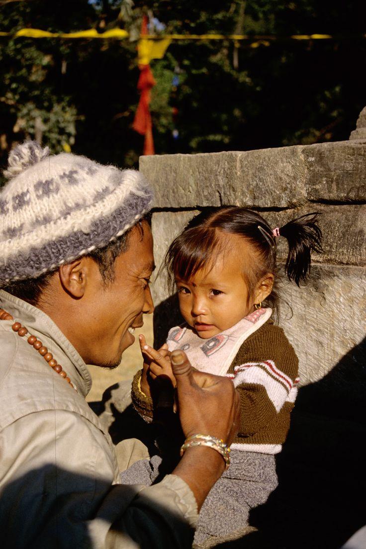 Papà e figlia allo Stupa Swayambhunath