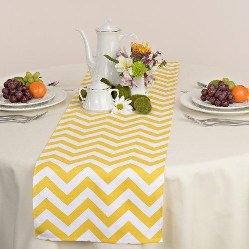 Yellow & White Chevron Zig Zag Table Runner
