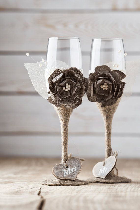 Wedding Toasting Glasses Rustic Toasting by InesesWeddingGallery - maybe purple flower