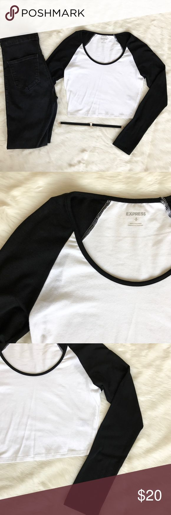 • Express Baseball Crop Top • This super stretchy baseball crop top is perfect for the upcoming baseball spring training season! Brand new, no tags.  • Ask all questions prior to purchase • Bundle & save  • Feel free to make your best offer!  _____  @Cynthaaa - From Me to You Express Tops Crop Tops