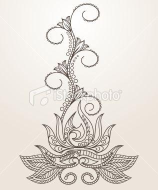Hand-drawn Henna Mehndi - аbstract lotus flower Royalty Free Stock Vector Art Illustration
