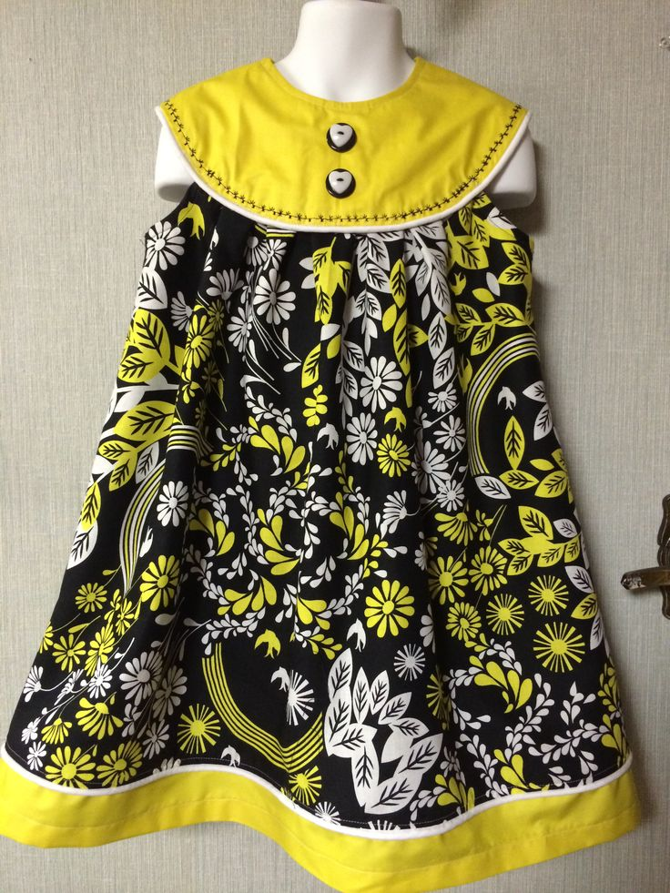Beautiful for any season..wear as sundress, with a cardigan, or over a long sleeve t-shirt. Beautiful yellow and black printed cotton (lined) Size 4/6...$35  Come with a free matching headband!!!