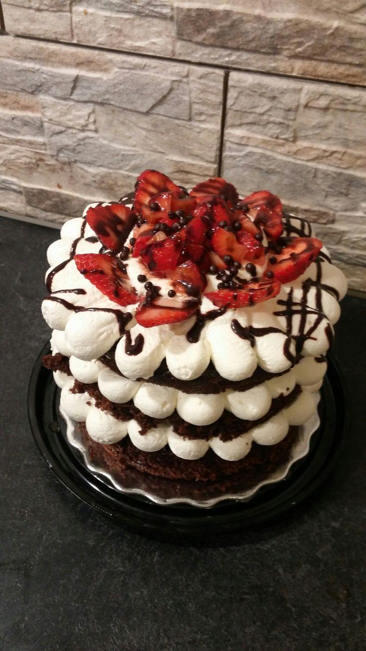 Gâteau shortcake aux fraises et chocolat