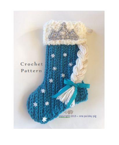 Elsa / Frozen Inspired Christmas Stocking  - (cute crochet pattern ideas, fun diy projects)