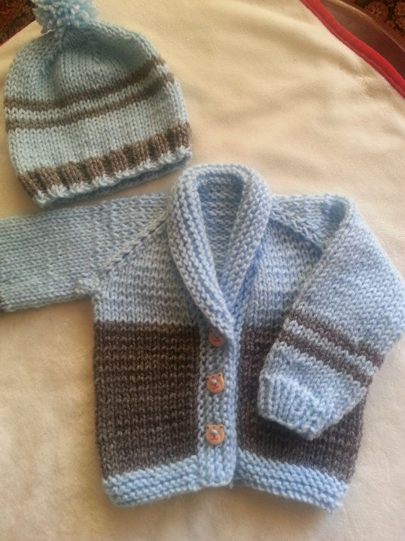 Handmade knitted sweater cardigan set for baby boy
