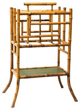 Vintage English Faux Bamboo Umbrella Stand or Magazine Rack asian-magazine-racks