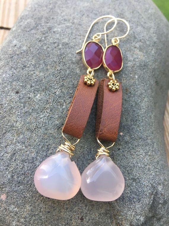 Pink Shades earrings ThePurpleLilyDesigns Chalcedony Gold
