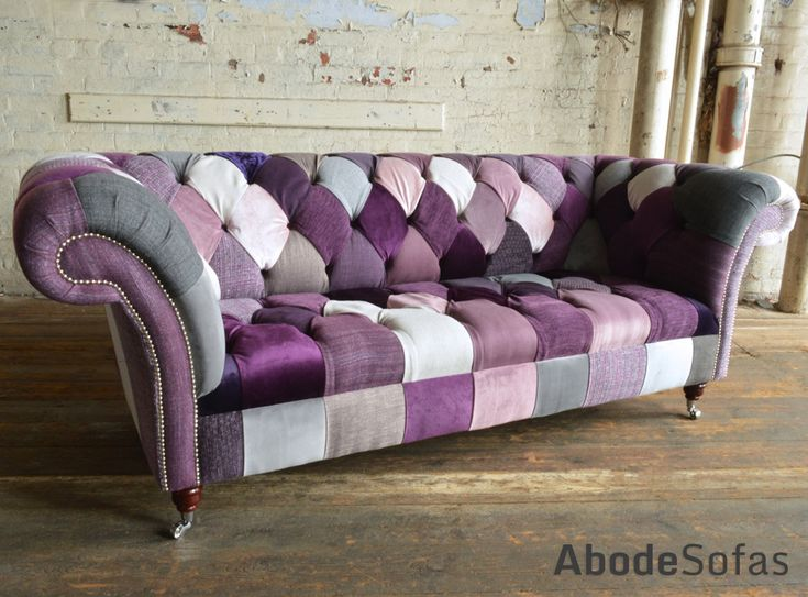Modern British Handmade Patchwork Chesterfield Sofa. Totally Unique Fabric 3 Seater, Shown in a Purple Mix of Coloured Fabrics. | Abode Sofas