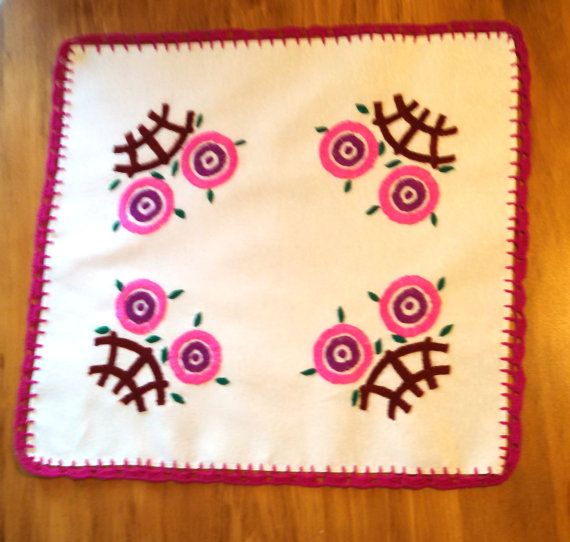 Handmade Table Topper with Mod Flowers. Embroidered & Crocheted.
