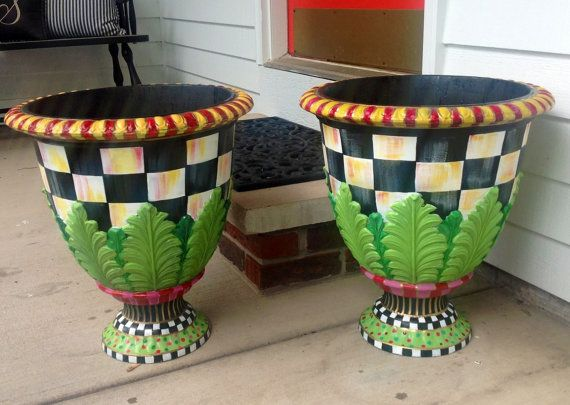 Large Urn planter pot - black and white checked - resin - colorful whimsical outdoor