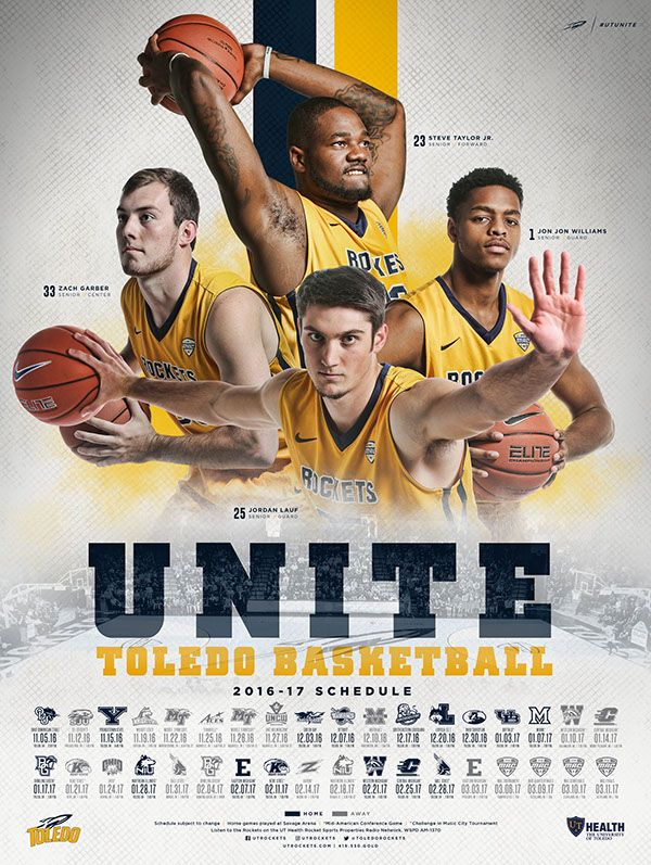 2016-17 Toledo Rockets Men's Basketball Schedule Poster
