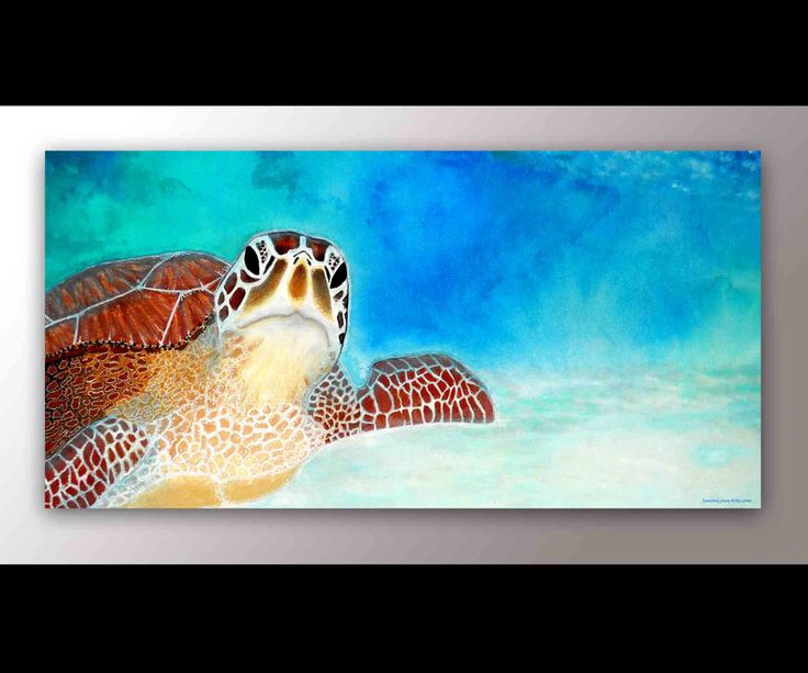 Sea Turtle Painting - Canvas Print Sea Turtle Painting, Tropical Sea Turtles Fine Art by SAXONLYNN on Etsy https://www.etsy.com/listing/218256067/sea-turtle-painting-canvas-print-sea