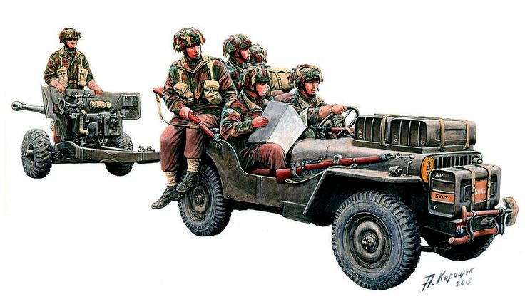 British Airborne Willy's ¼ ton Jeep towing a 6 pdr anti-tank gun