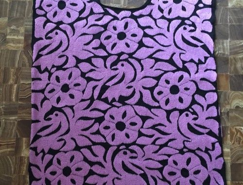 blusa papaloapan bordada en color lila - querida frida