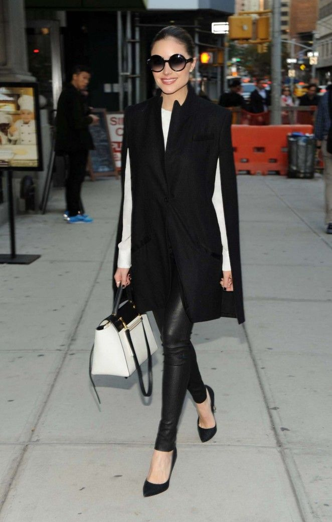 Olivia Culpo in Leather Out in New York -- I would like this better with different sunglasses.