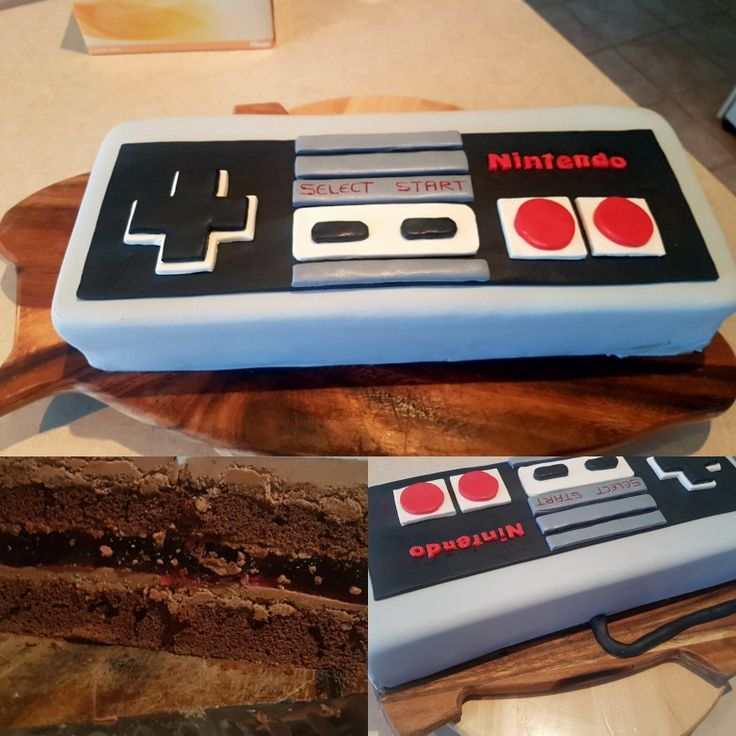 Nintendo old school vintage controller cake with jelly layer