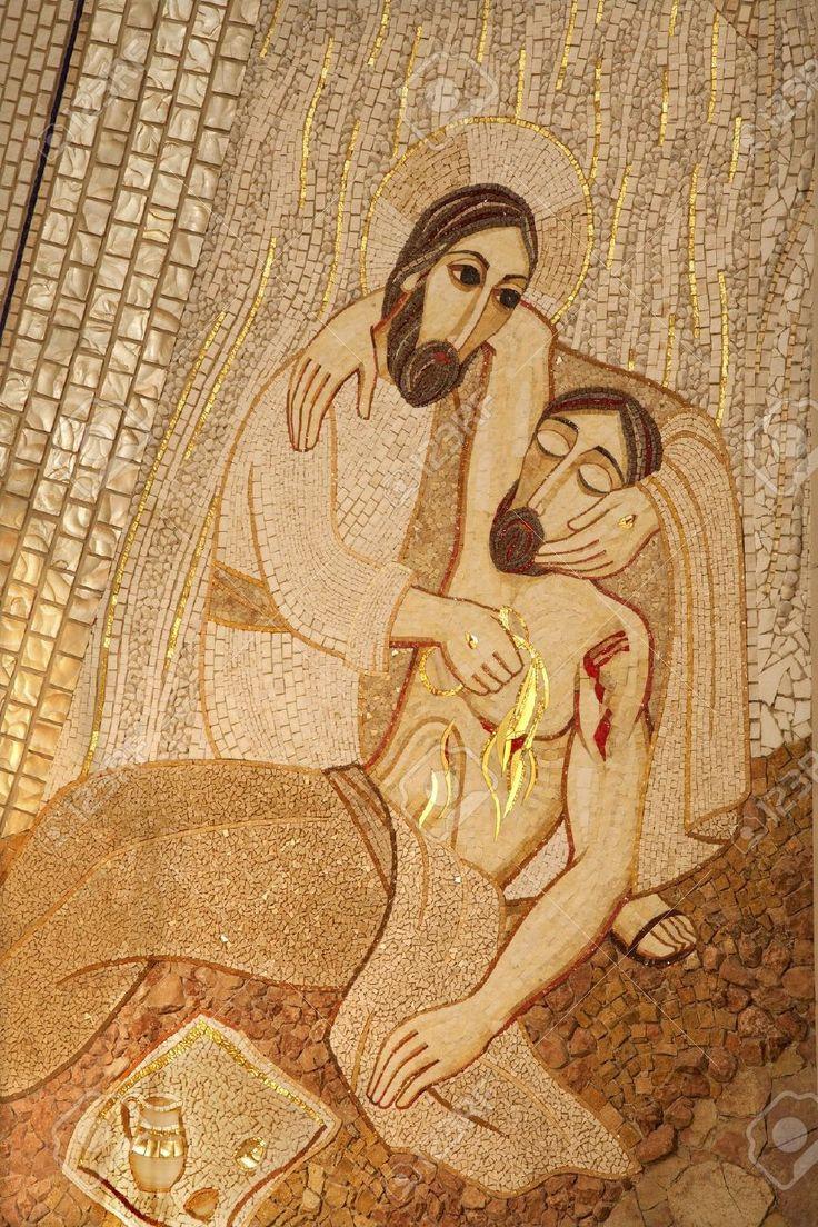 Mosaïque moderne du Bon Samaritain par pater Rupnik de Capilla del Santisimo dans la cathédrale Almudena (Madrid)