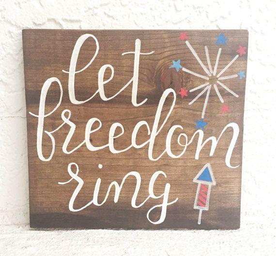 Let Freedom Ring Patriotic Wood Sign by GoldandHoneyDesignCo