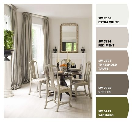 Gray and Green dining / Paint colors by Sherwin-Williams ...